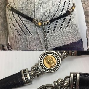 BRIGHTON Vintage Coin Leather Black Belt